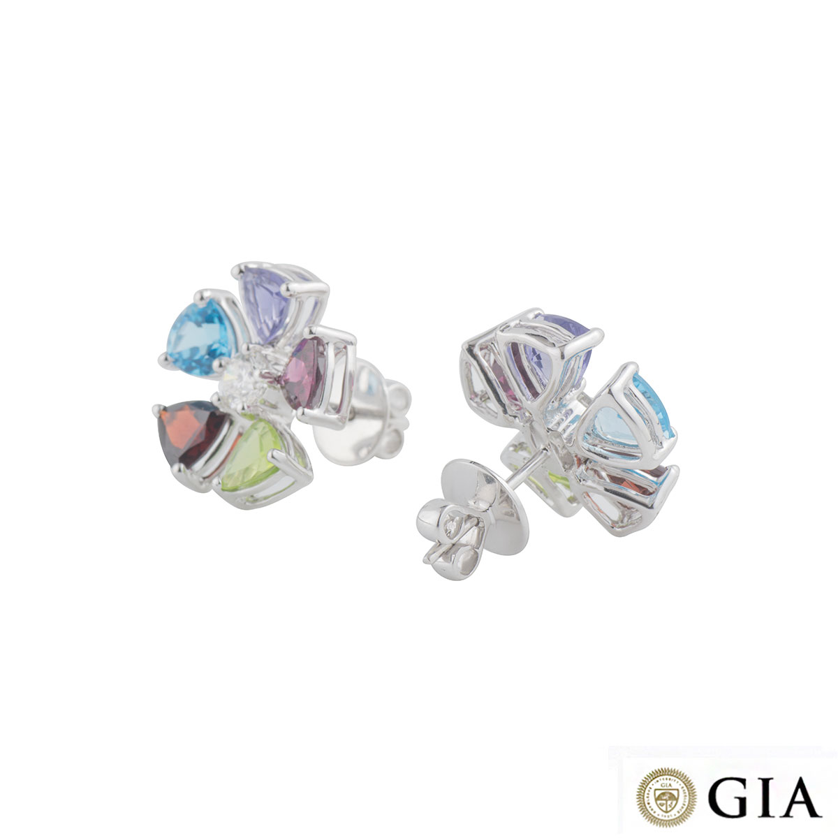 White Gold Multi-Gemstone Earrings
